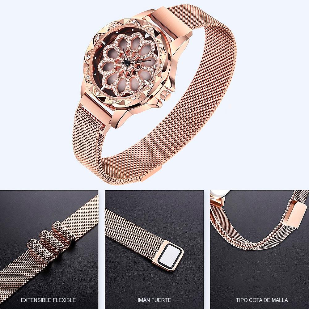tan baratas mejor moda más deseable Reloj Giratorio Mujer Broche Metal Magnético Corte Diamante