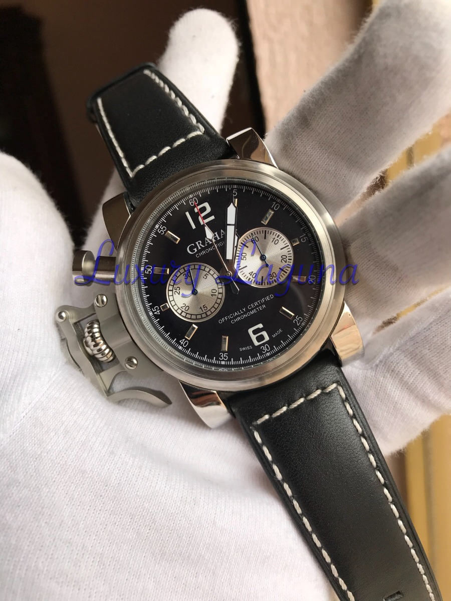 4c83eabc50fa reloj graham chronofighter acero piel negro. Cargando zoom.