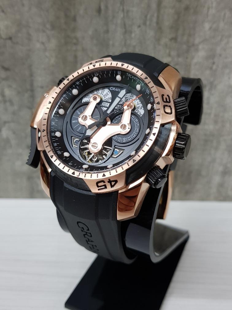 065349c87218 reloj graham chronofighter negro oro rosa 45mm(fotos reales). Cargando zoom.