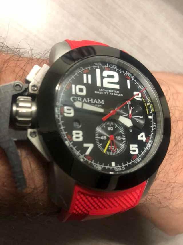 cf8e61d08b70 reloj graham cronofighter negro con rojo. Cargando zoom.