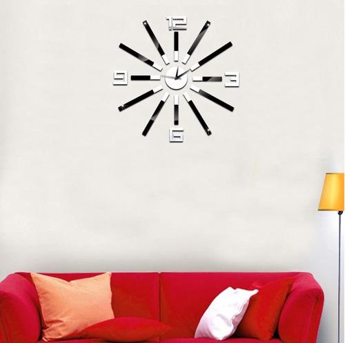 reloj grande de cocina decorativo sticker 3d espejo 65 cms