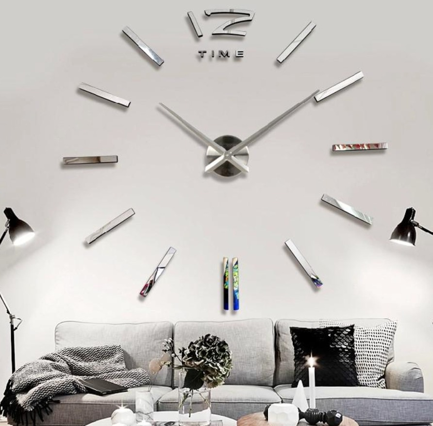 Reloj grande de pared decorativo sticker 3d espejo 120 cms for Relojes de salon modernos