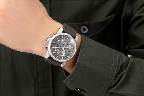 reloj gris cronografo correa de piel envio gratis