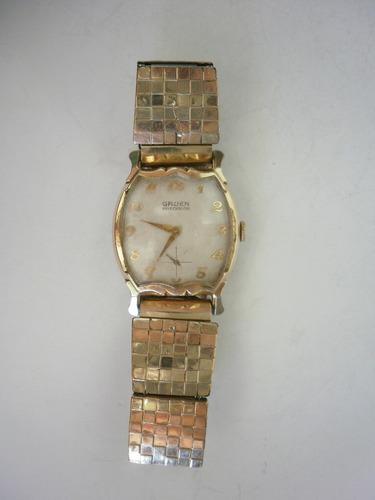 reloj gruen precision de hombre chapa oro hecho en u.s.a.