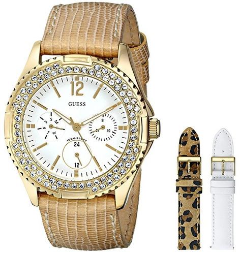 reloj guess classic dorado set de correas mujer u13597l1