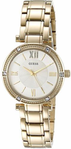 reloj guess crystals acero inoxidable dorado mujer u0767l2