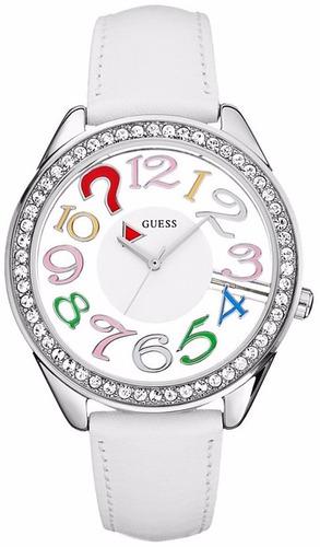 reloj guess crystals blanco acero inoxidable mujer u11066l1