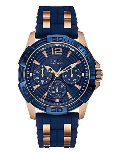 reloj guess men's stainless steel casual silicone watch