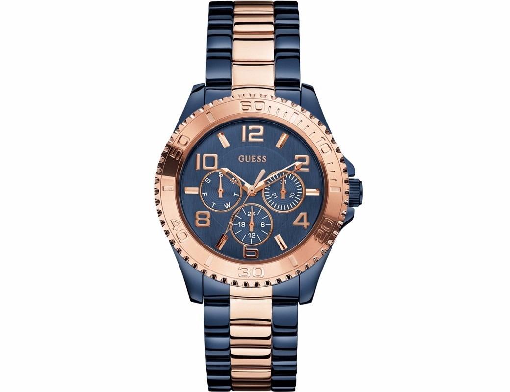 reloj azul con dorado guess mujer
