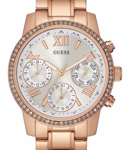 Guess Gold Reloj Mujer W0623l2 Oficial Piedras Rosé Original ZukPiTOX