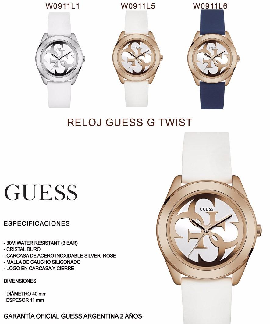 W0911l1 Caucho 10 Guess Reloj G Mujer Blanco Twist Promo RjqAc5L34S