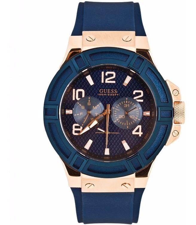 Caballero W0247g3 Doradoazul Reloj Guess Multifunción strdCQh