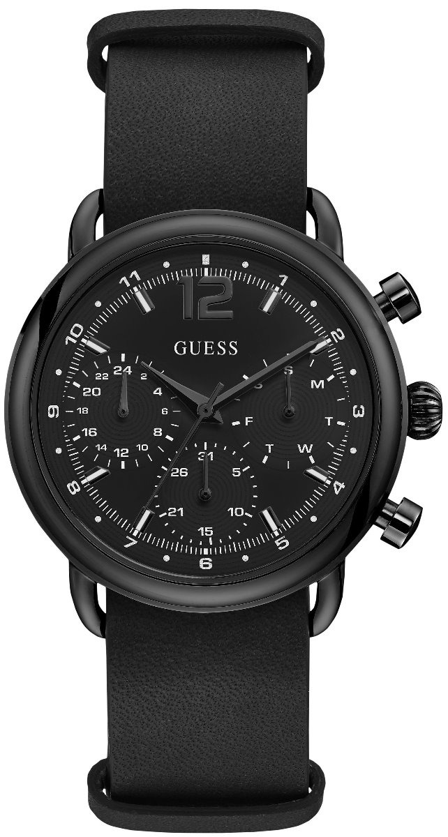 Para Negro Caballero Guess Acero W1242g3 Outback Piel Reloj WIE9eHYD2