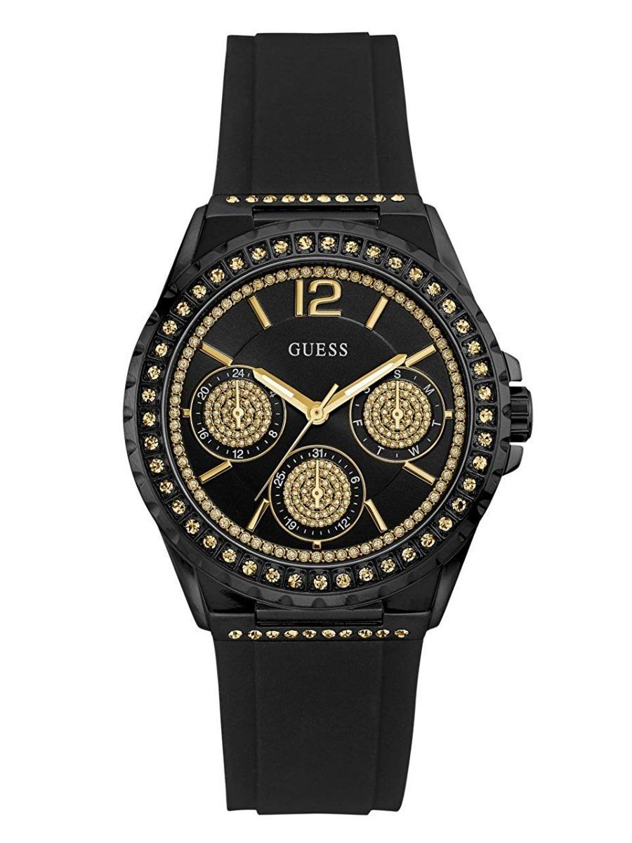 Guess Para W0846l1 Mujer Reloj Negro Original Pulso Goma 8mwNvOn0