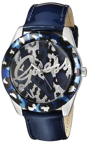 reloj guess sexy animal print azul acero mujer u0455l1