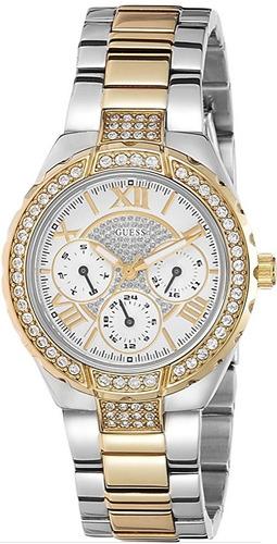 reloj guess sparkling acero 2 tonos fecha/día mujer w0111l5