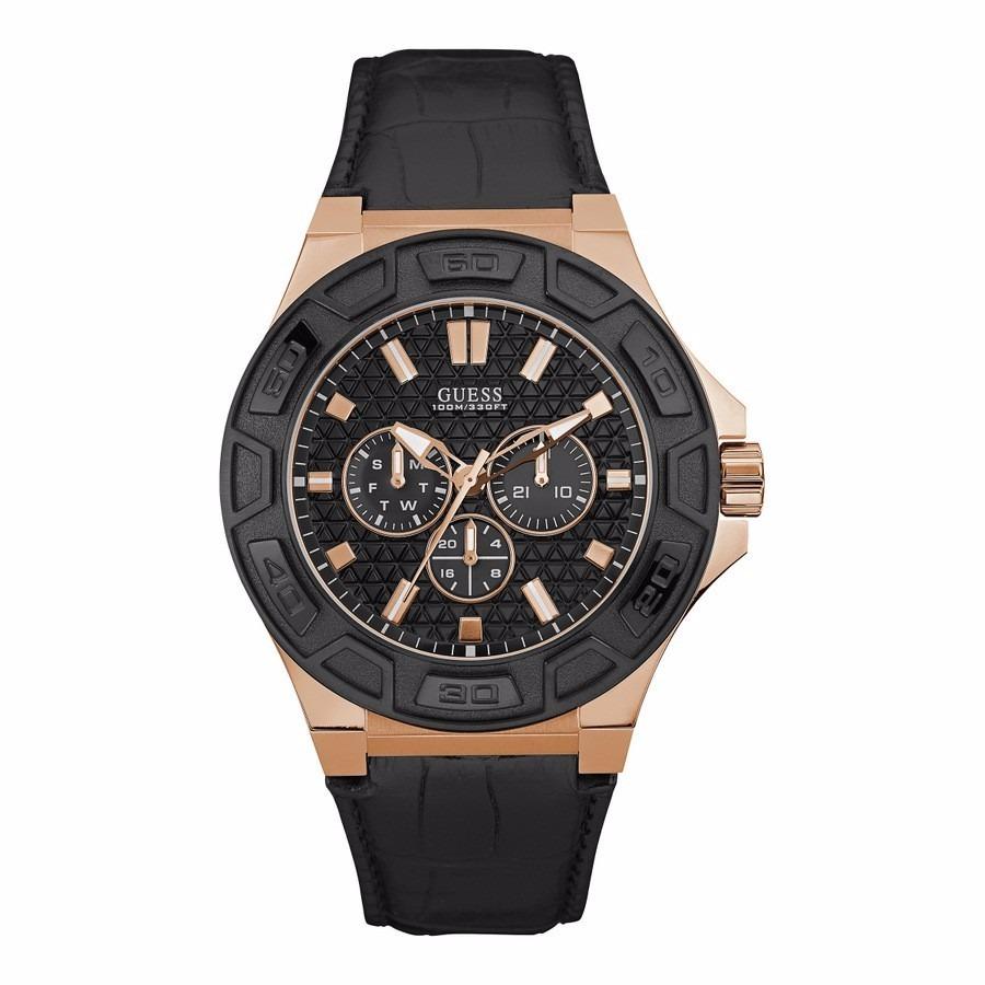 W0674g6 Cuero Dorado Reloj Hombre Guess Negro Original eEHYWD29I