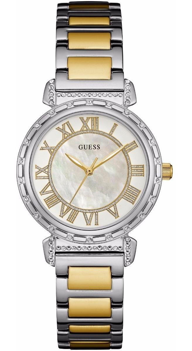 Dama W0831l3 Plateado Brillantes Concha Guess Reloj TlFKJc1