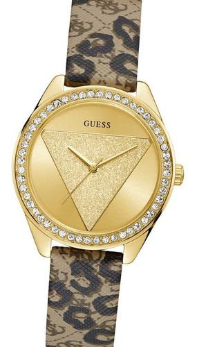 reloj guess w0884l9 leopard print leather tri glitz