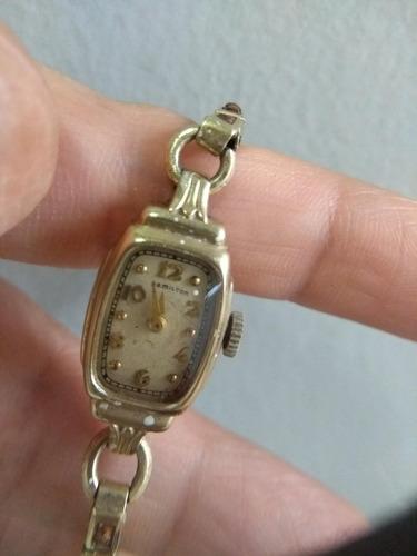 reloj hamilton antiguo, de pulsera para mujer 10k