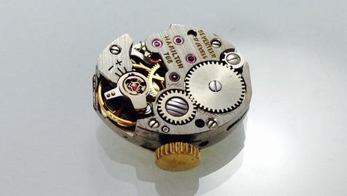 reloj hamilton p/dama de oro blanco de 10k (inv 653)