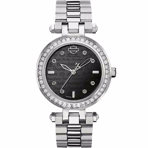 reloj harley davidson cristales original para dama  76l177