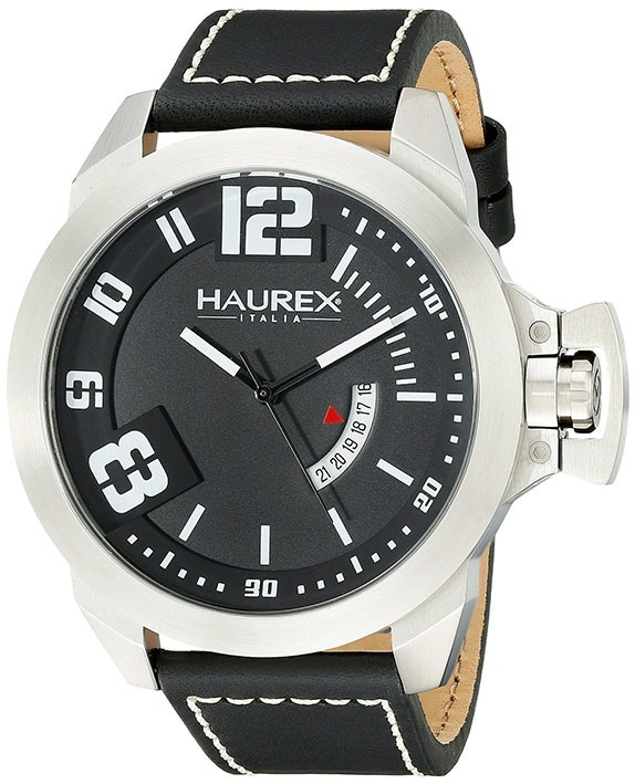 a8e323fa40de Reloj Haurex Italy Plata Original Nuevo Stainless Steel Negr ...