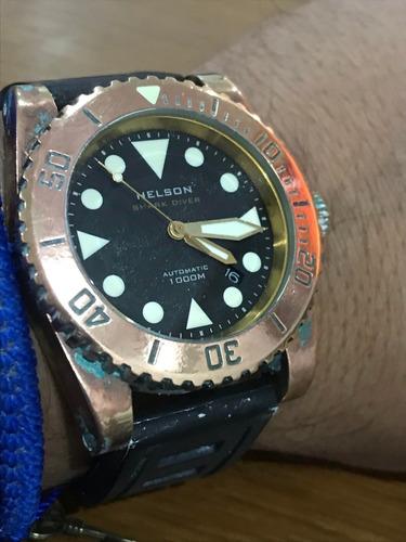 reloj helson sharkdiver automático bronce