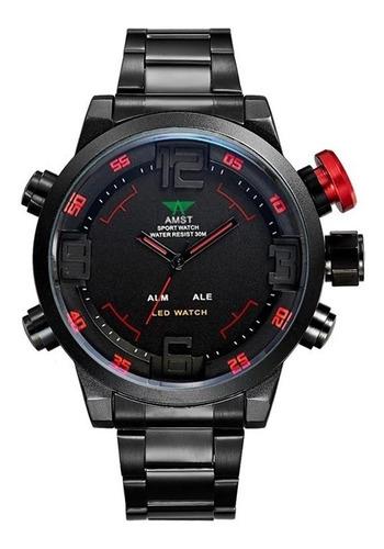 reloj hombre amst led/calendario/resistente al agua /alarma