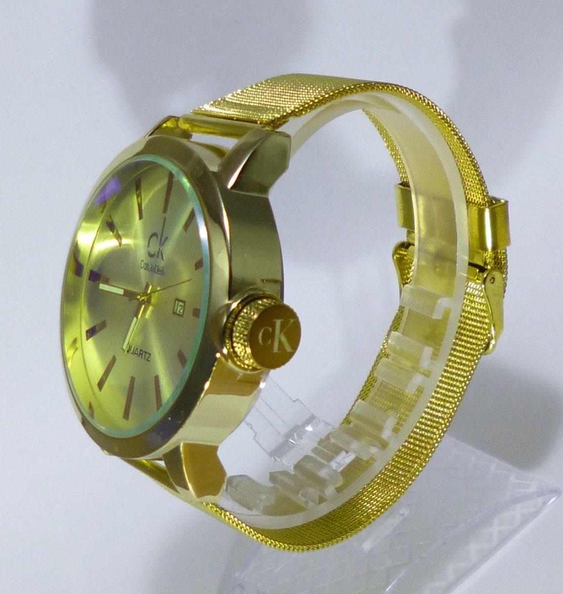 Excelente Hombre Dorado Reloj Klein Ck Regalo Calvin VUpSzM