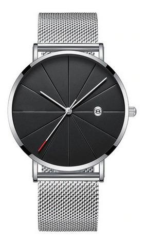 reloj hombre clasico calendario - plata
