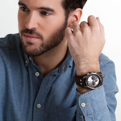 reloj hombre fossil ch 2565  cuero 100% original cronografo