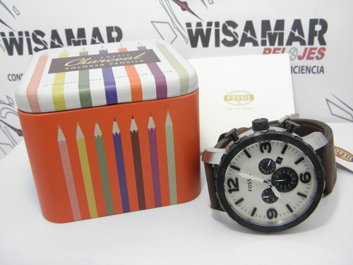 reloj  hombre fossil jr 1390 cuero 100% original cronografo