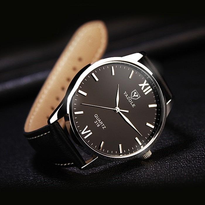 7ea3e47835b2 Reloj Hombre Grande Acero Vidrio Negro Con Brillo Azul -   168.21 en ...