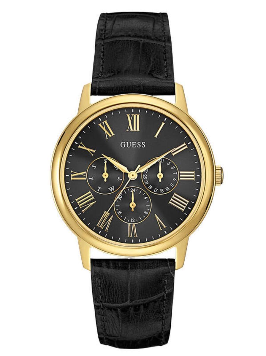 2d59af663 Reloj Hombre Guess Wafer Dorado Y Cuero Negro - S/ 360,00 en Mercado ...