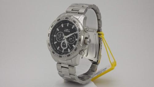 reloj hombre invicta speedway crono plateado negro 22780