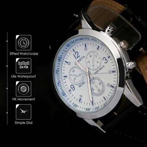 reloj hombre multifunción correa de cuero 24