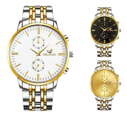 reloj hombre orlando acero inoxidable elegante mayoreo