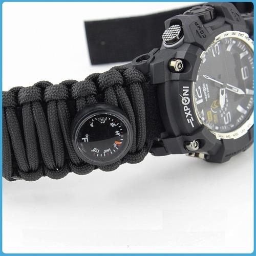 reloj hombre pulsera paracord. termometro silbato. brujula