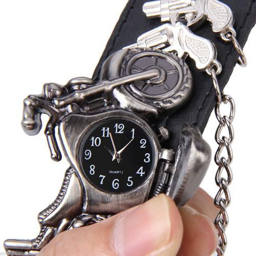 reloj hombre punk rock moto - motocicleta con pistolas