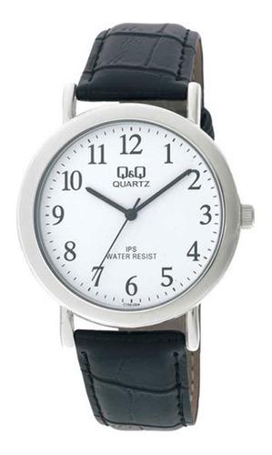 reloj hombre q&q c150j, analogo acero y cuero, water resist