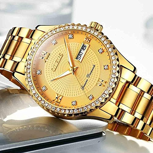 266d1948d136 olevs reloj dorado hombre acero inoxidable relojes de cuarzo · reloj hombre  relojes