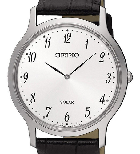reloj hombre seiko sup863p1 linea solar acero con piel