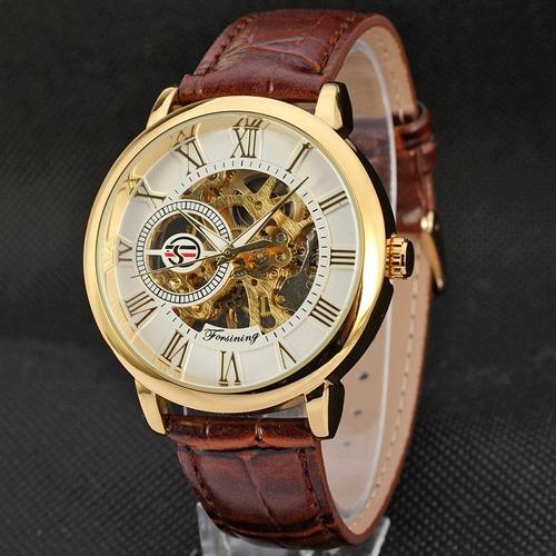reloj hombre skeletor automatico forsining dorado