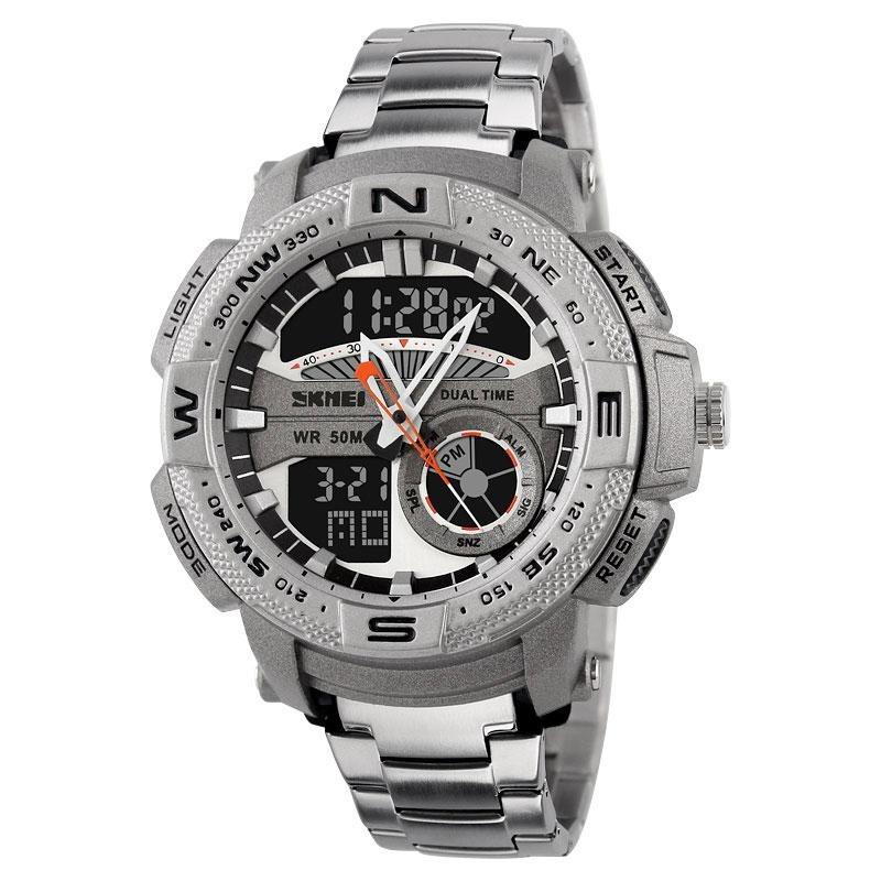 6537ae02c3f1 reloj hombre skmei 1121 acero crono alarma luz sumergible. Cargando zoom.