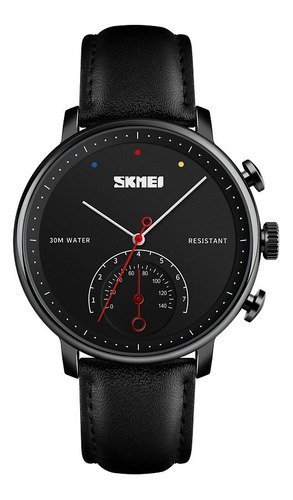 reloj hombre skmei 1399 extensible de piel elegante negro