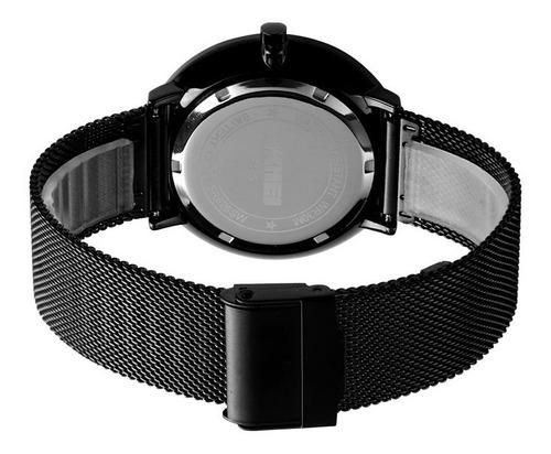 reloj hombre skmei 9185 acero negro minimalista gtia 1 año