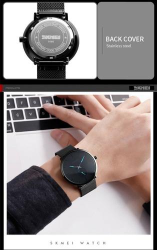 reloj hombre skmei 9185 acero negro minimalista gtia top vip