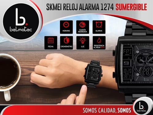 reloj hombre skmei cronómetro alarma timer luz relojes