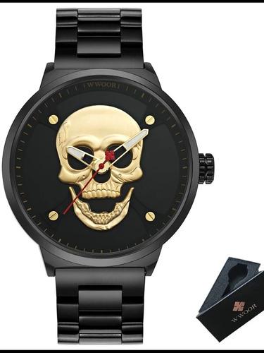 reloj hombre, skull acero inoxidable. wwoor.